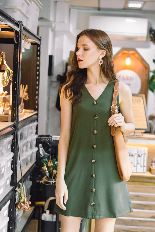 Jazmyn Button Shift Dress in Olive