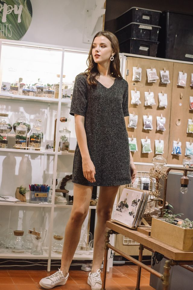 Alyvia Tweed Shift Dress in Black