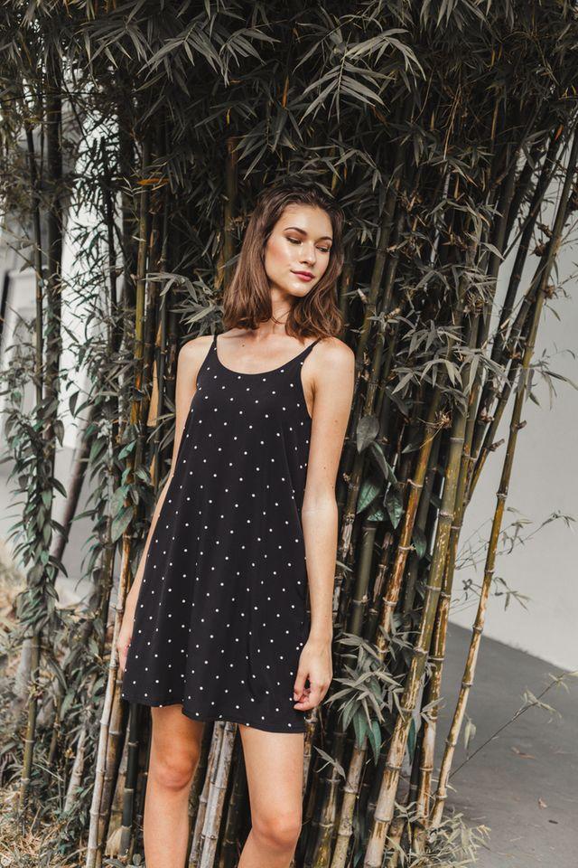 Mitzi Polka Dot Slip Dress in Black