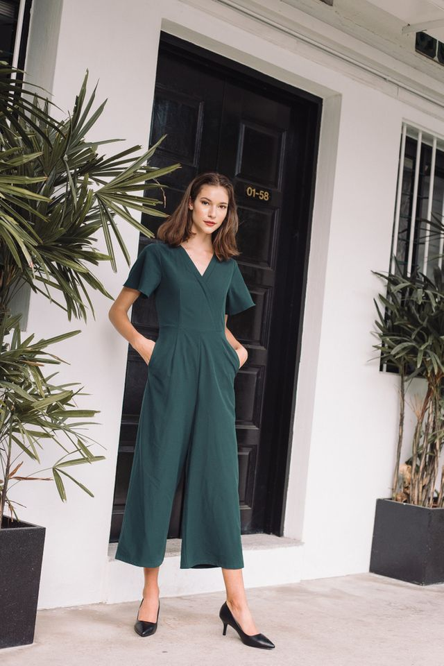 Elianore Faux Wrap Jumpsuit in Teal (XS)