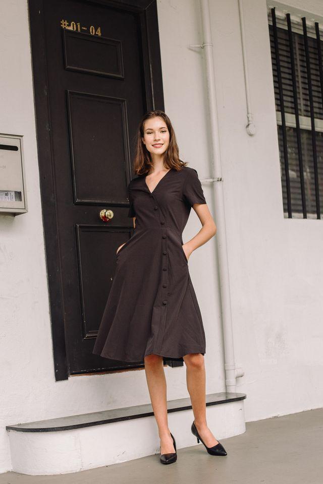 Sophil Faux Wrap Button Midi Dress in Black (XS)