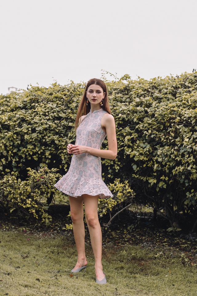 Racia Lace Cheongsam Dress in Grey