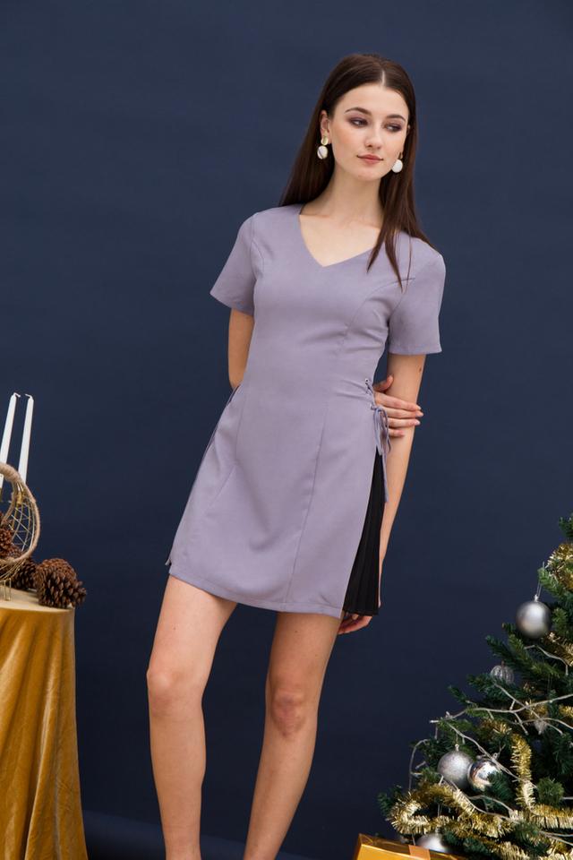 Paityn Side Pleated Dress in Lavender (XS)