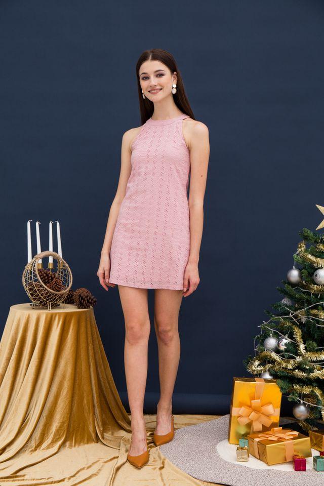 Mayra Eyelet Halter Dress in Pink (XL)