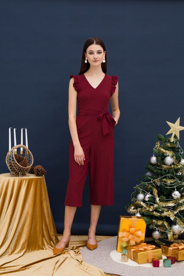 Cierra Ruffle Sleeves Jumpsuit in Wine Red (XS)
