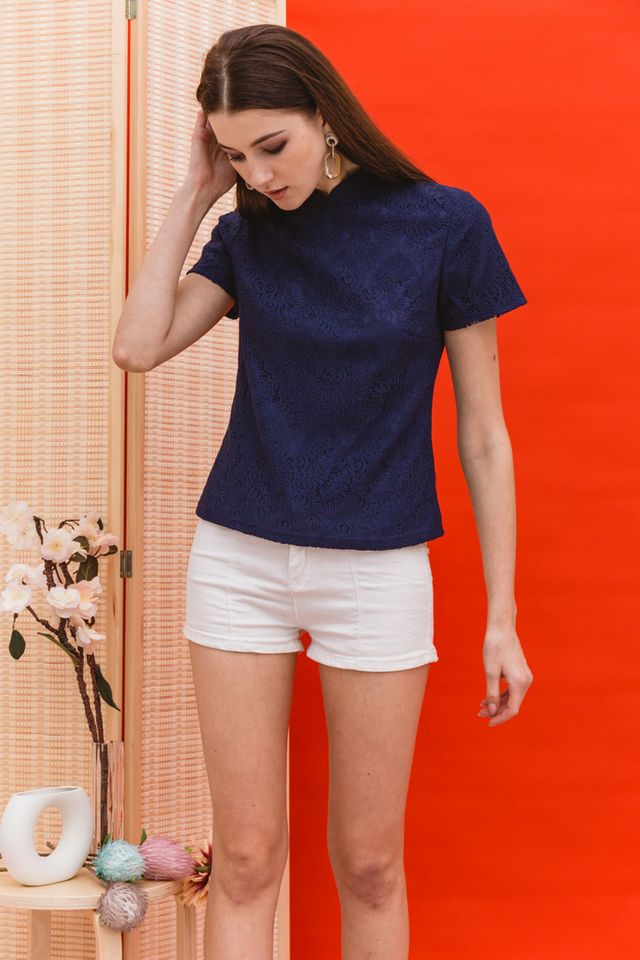 Lin Lace Mandarin Collar Top in Navy (XS)
