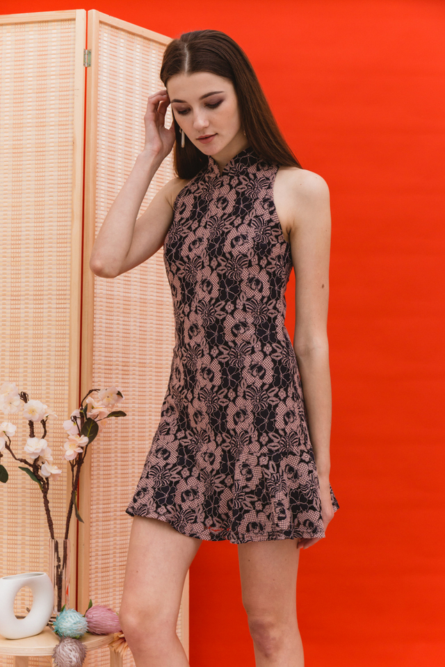 Racia Lace Cheongsam Dress in Black
