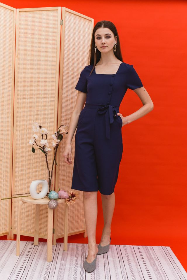 Cerys Button Square Neck Jumpsuit in Navy