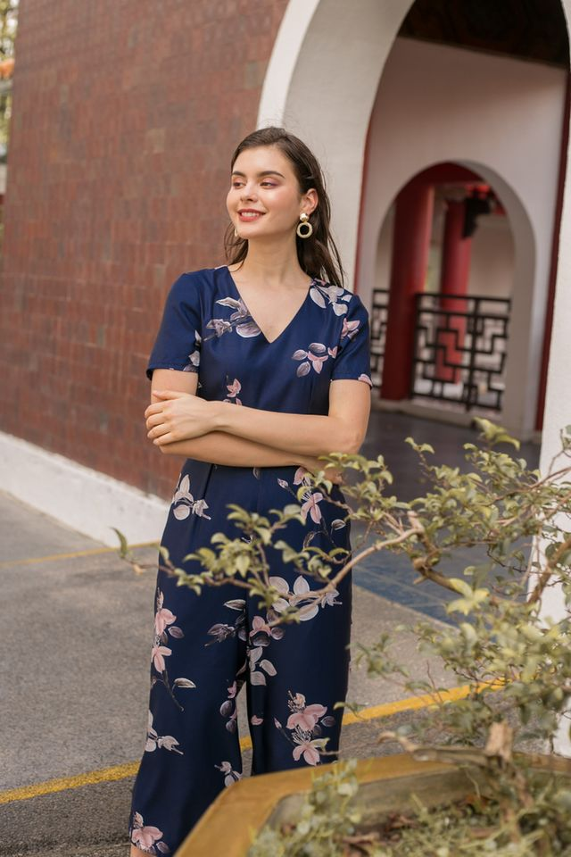 Issoria Floral Wide Leg Jumpsuit in Navy (XS)