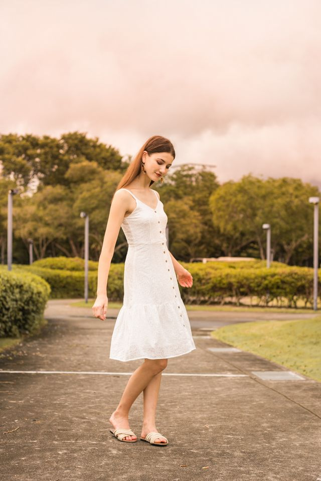 Gwenore Floral Eyelet Dress in White