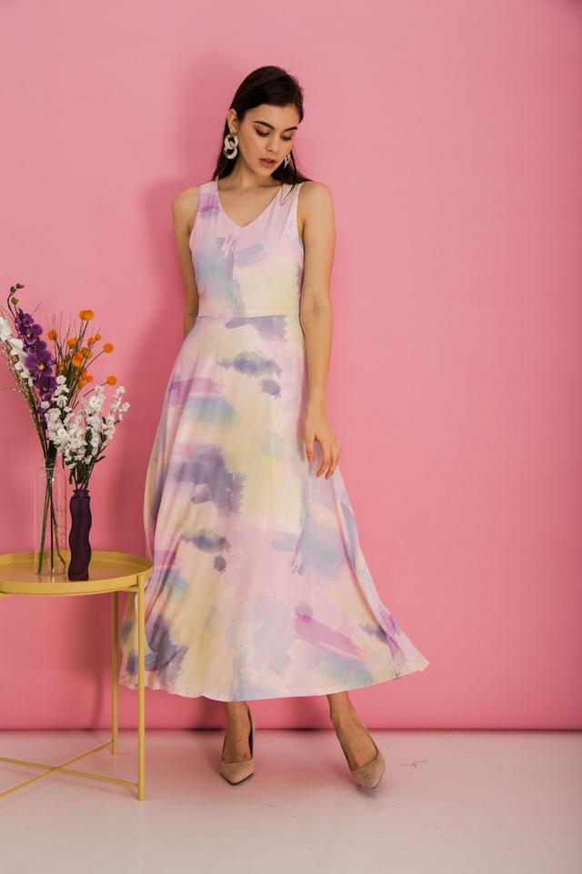 Louella Watercolour Maxi Dress in Pink (XS)