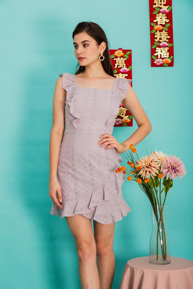 Darina Eyelet Ruffles Dress in Grey