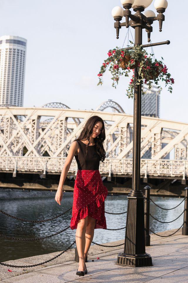 Gracie Colourblock Polka Dot Dress in Black