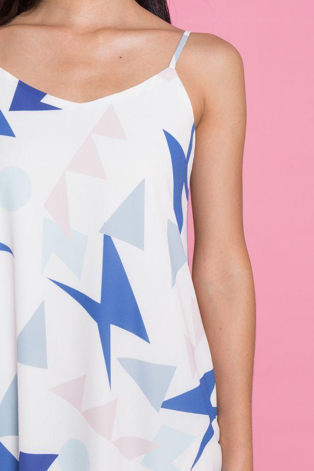 Sona Geometric Slip Dress in White (XL)