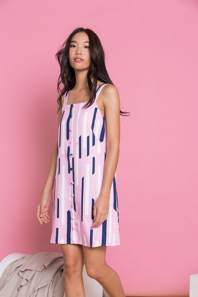 Ilene Geometric Shift Dress in Pink
