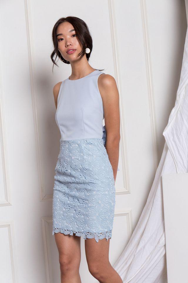 Verina Crochet Sheath Dress in Sky Blue (XL)