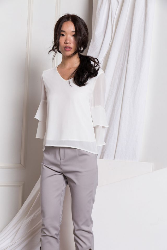 Solana Button Hem Work Pants in Grey