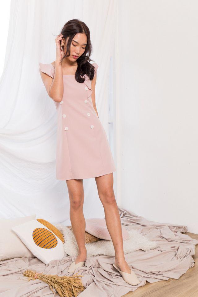 Taris Button Shift Dress in Dusty Pink