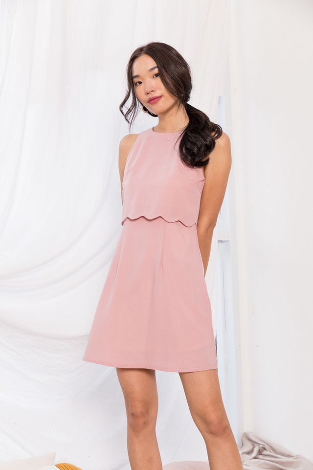 Mirta Overlay Trapeze Dress in Dusty Pink