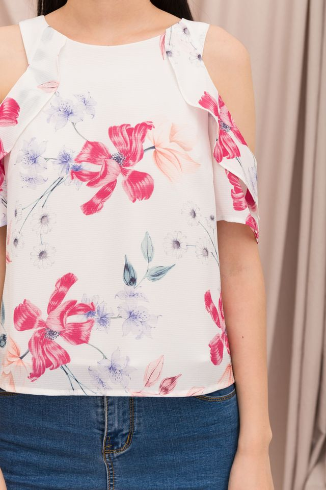 Acacia Floral Cold Shoulder Top in White (XS)