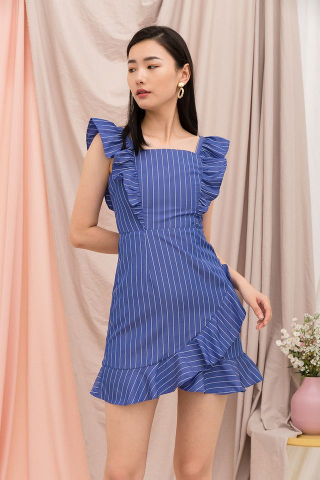 Amarli Striped Ruffles Dress in Blue (M)