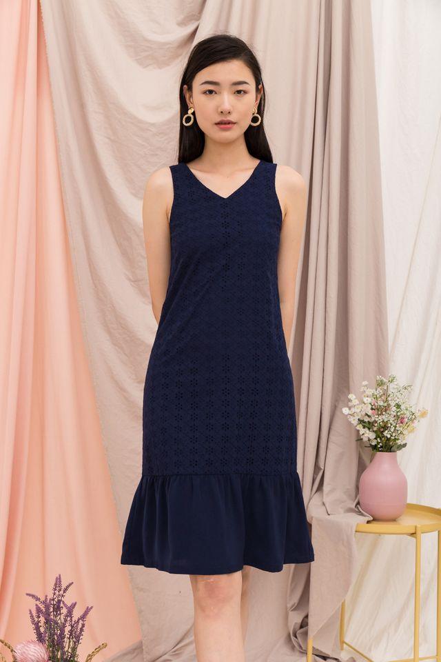 Gavriella Eyelet Embroidery Dress in Navy