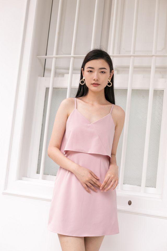 Xera Layered Dress in Dusty Pink (L)