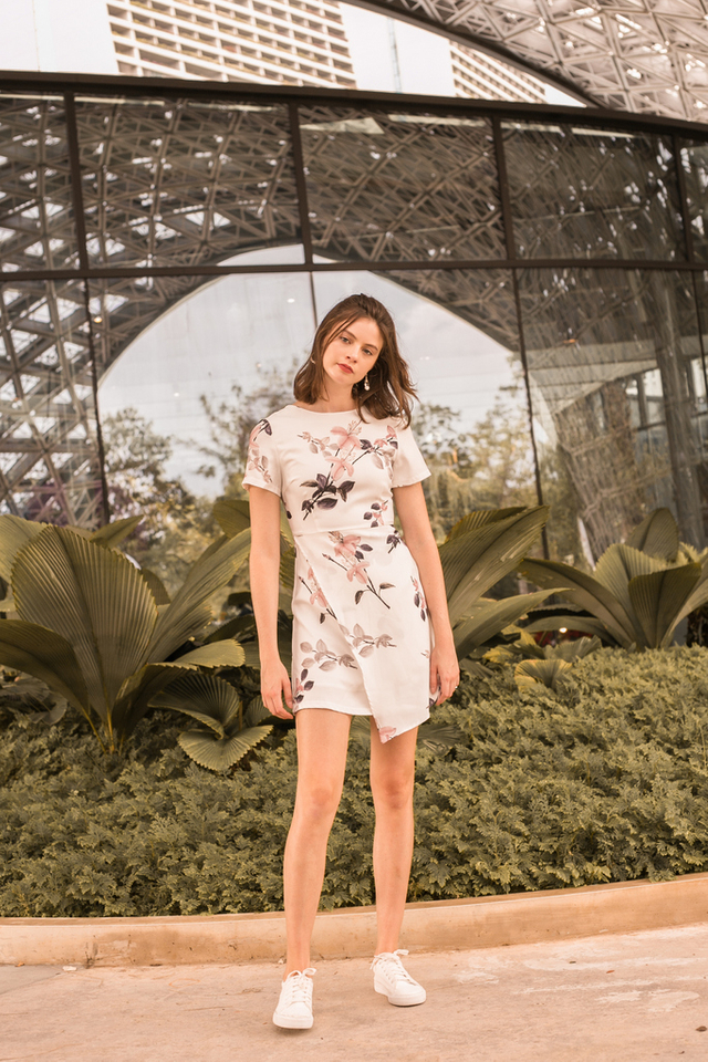 Sueann Floral Overlay Dress in White