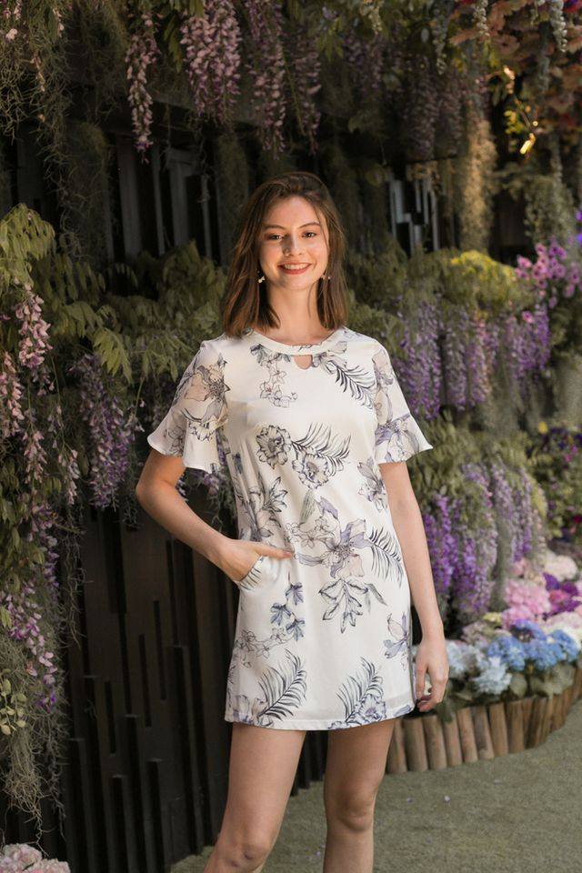 Silvana Keyhole Floral Dress in White