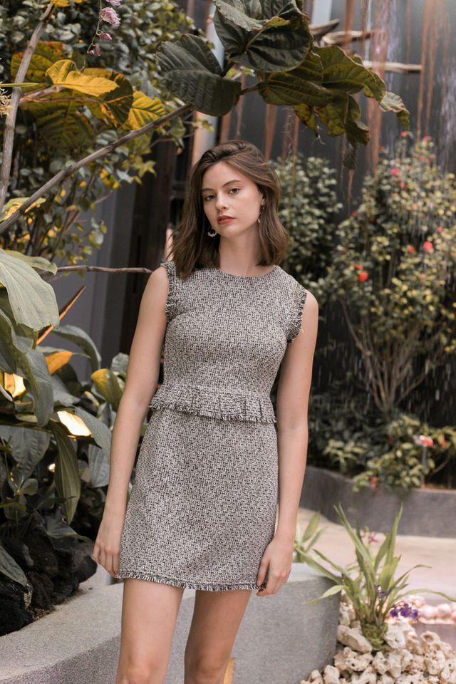 Alia Tweed Work Dress in Black