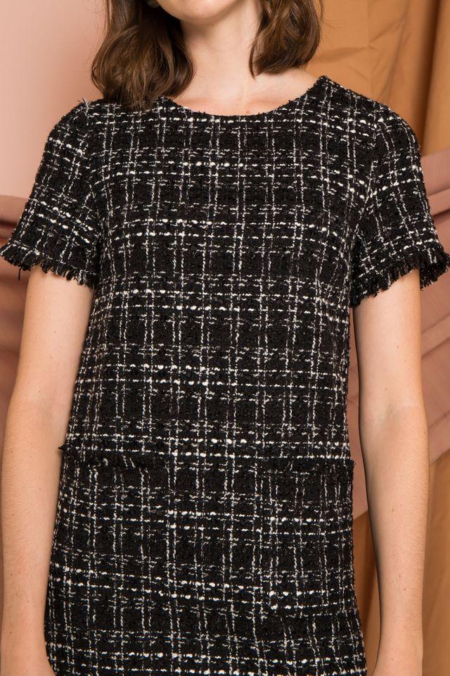 Valetta Tweed Shift Dress in Black