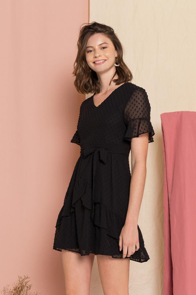 Clarisa Polka Dot Tiered Dress in Black (XS)