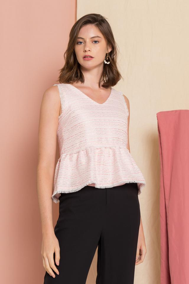 Meredith Tweed Fringe Top in Pink (XL)