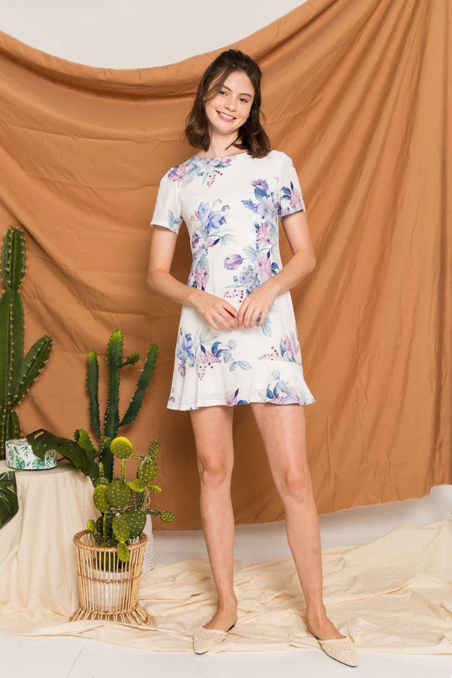 Lizbeth Floral Ruffles Dress in White (XS)