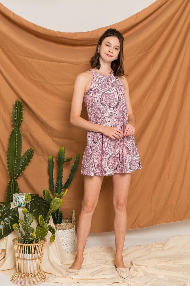 Arissa Bohemian Halter Dress in Light Pink (XL)