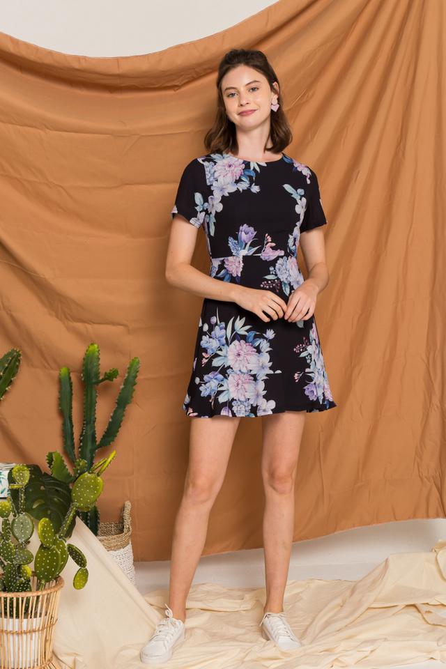 Lizbeth Floral Ruffles Dress in Black (XS)