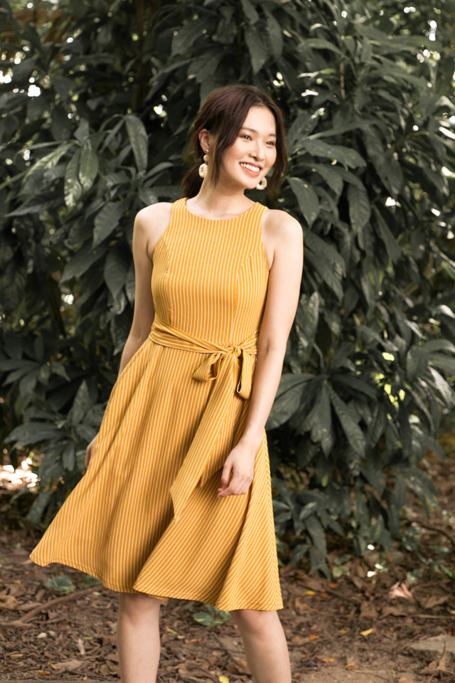 Nessa Striped Flare Midi Dress in Light Caramel