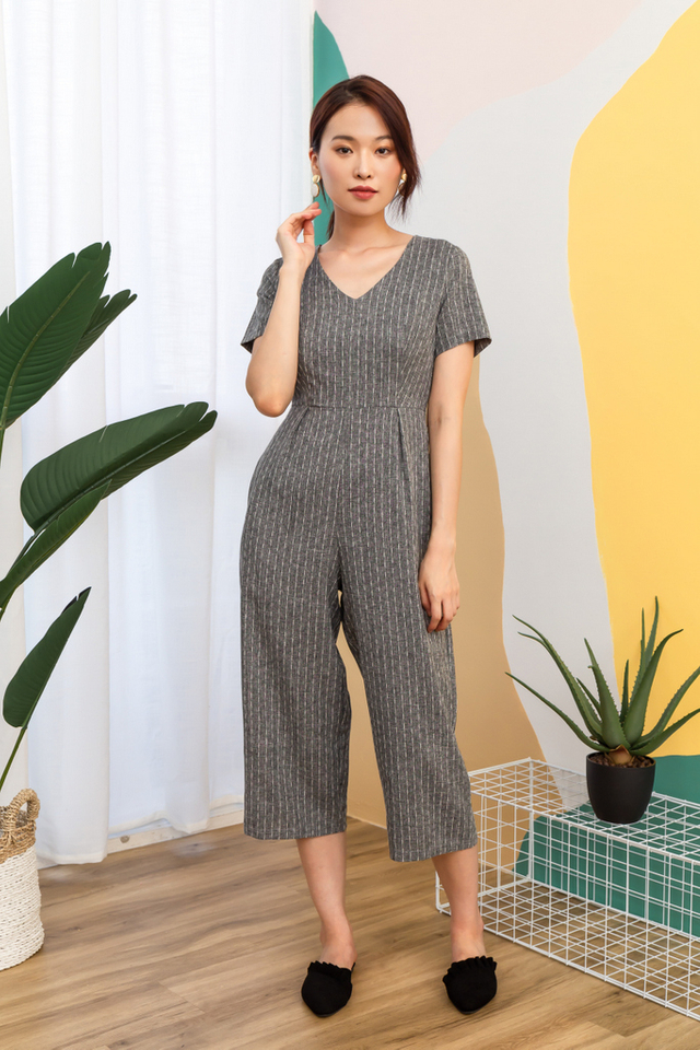 Hartley Striped Jumpsuit in Grey (XS)