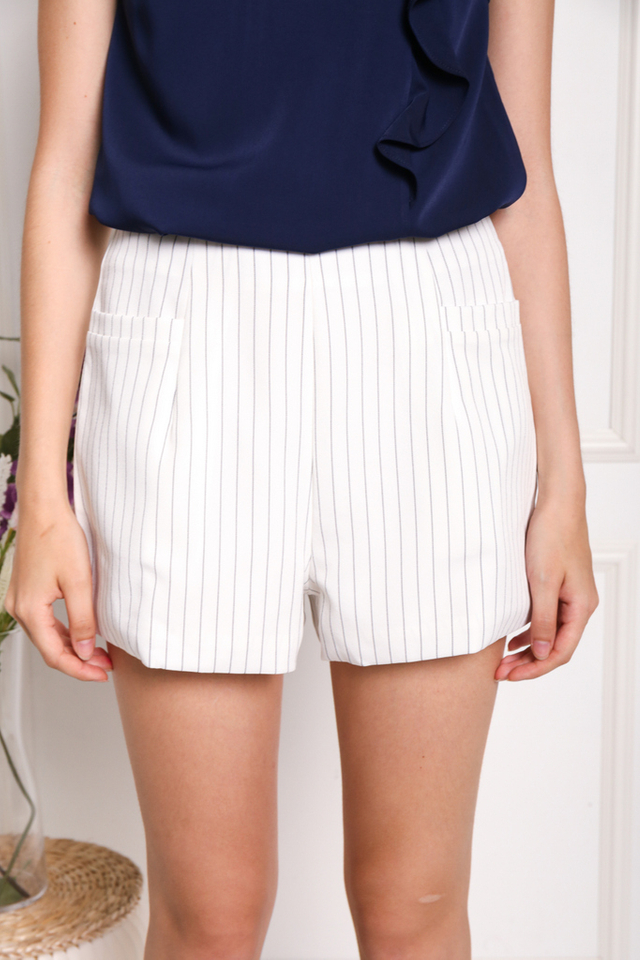 Veronique Striped Pocket Shorts in White