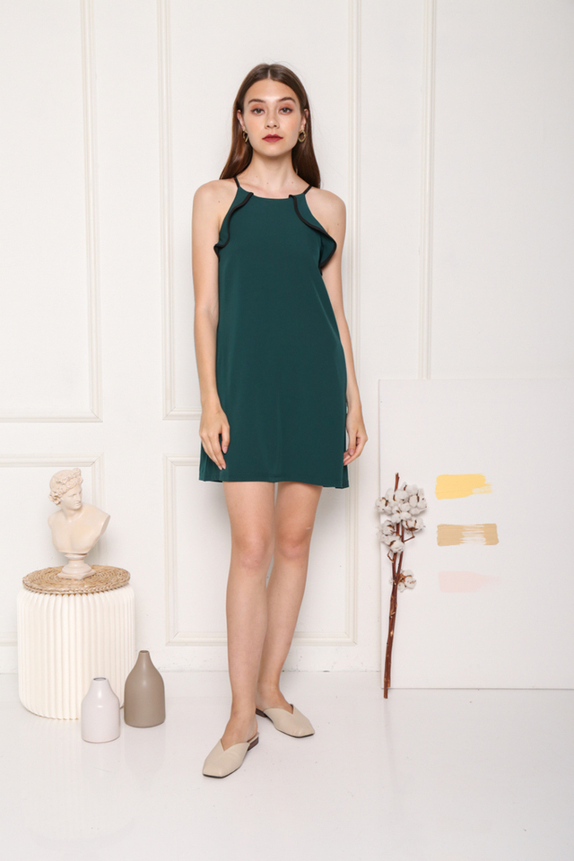 Yancey Ruffles Hem Dress in Forest