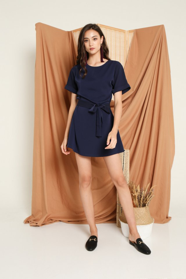 Olevia Tie-Front Shift Dress in Navy