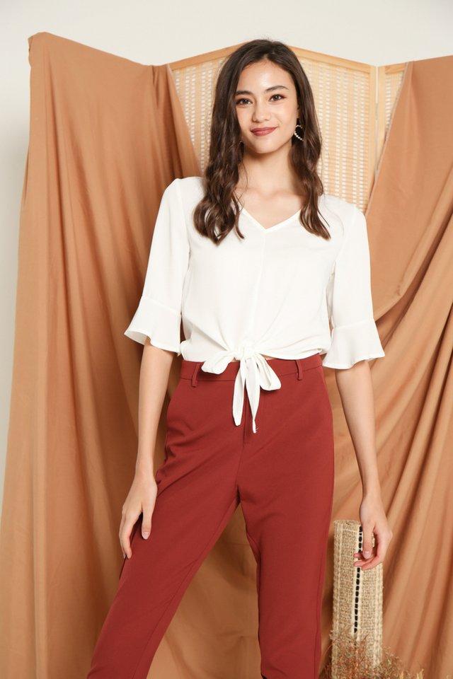 Glynda Tie-Front Top in White (XL)