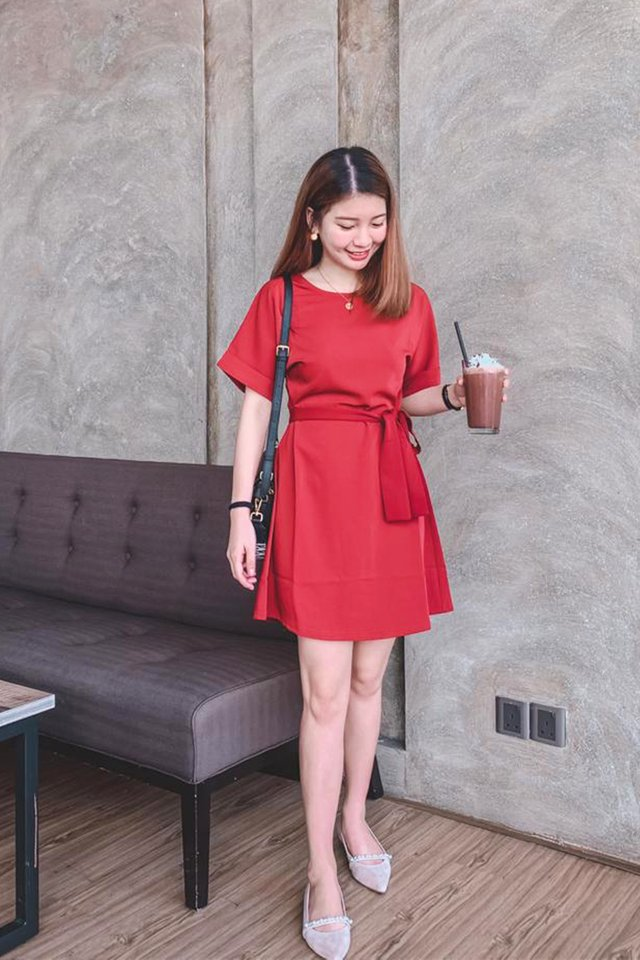Olevia Tie-Front Shift Dress in Rust (XS)