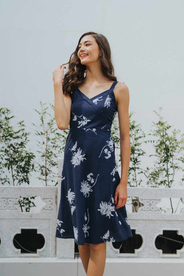 Sharika Floral Midi Dress in Navy