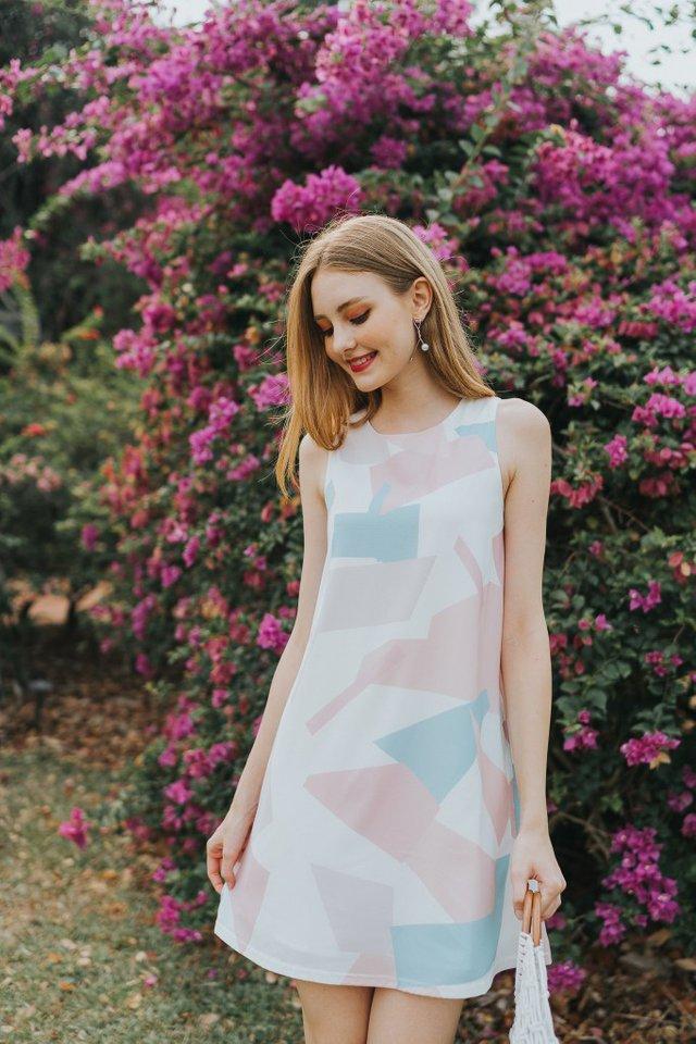 Bethea Geometric Trapeze Dress in Pink