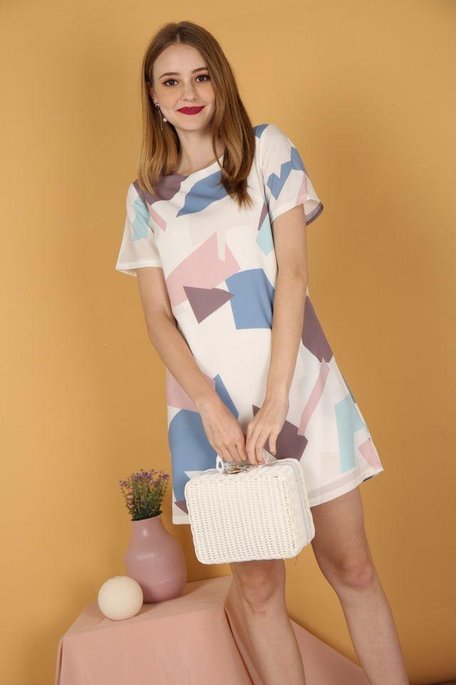 Marvelle Geometric Shift Dress in Blue (XS)