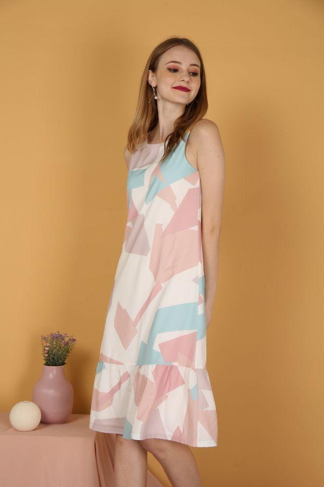 Inaya Geometric Dropwaist Midi Dress in Pink (XS)