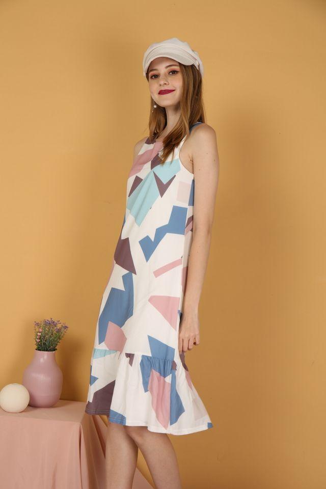 Inaya Geometric Dropwaist Midi Dress in Blue (XS)
