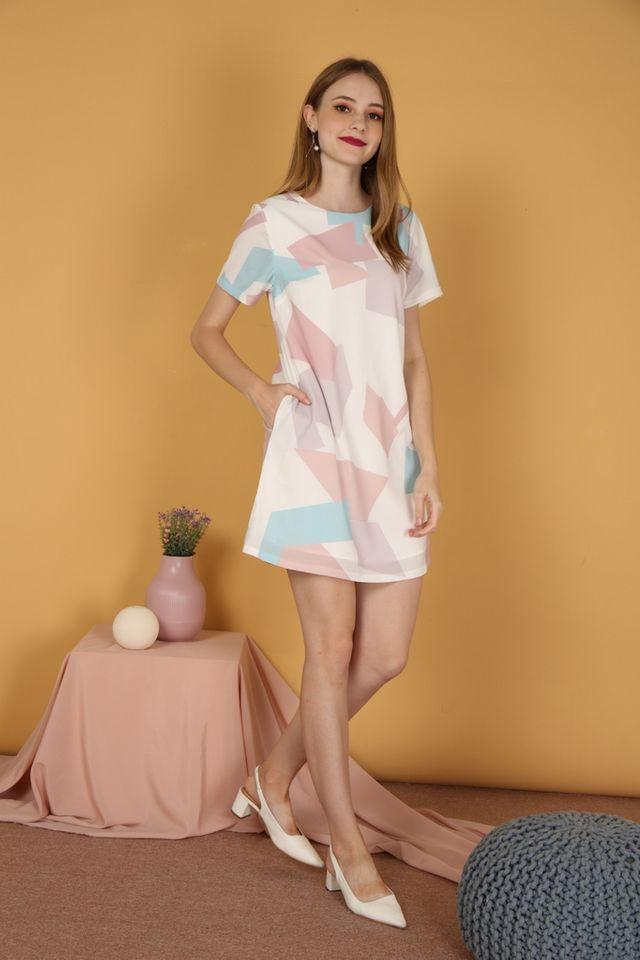 Marvelle Geometric Shift Dress in Pink