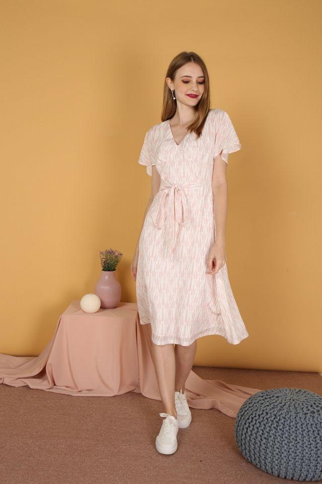 Aimee Printed Ribbon Midi Dress in White (XS)